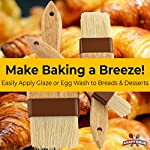 Restaurant-Grade Boar Hair Pastry and Basting Brush Set of 3 (1, 2 and 3 Inch). Ultra-Fine Hardwood Flat Brushes for Spreading Butter, Egg Wash or Marinade to Pastries, Dessert, Bread Dough or Meat 11 MAKE BAKING A BREEZE WITH PRO-GRADE PASTRY BRUSHES! These restaurant-grade flat brushes are perfect for applying glaze or egg wash to bread dough and desserts. Grease pans and cookie sheets with ease! GENUINE HARDWOOD AND BOAR HAIR FOR NATURAL, DURABLE TOOLS. Equipped with a solid wood handle contoured for comfort, and boar hair bristles reinforced with a BPA-free plastic band for long lasting use. GUARANTEED FOR LIFE. We offer a No-Nonsense Lifetime Satisfaction Guarantee on all our kitchen supplies. If at any point you're not 100% happy, just send us an email, and we promise to make it right!