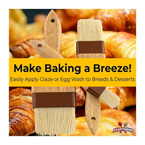 Restaurant-Grade Boar Hair Pastry and Basting Brush Set of 3 (1, 2 and 3 Inch). Ultra-Fine Hardwood Flat Brushes for… 4 MAKE BAKING A BREEZE WITH PRO-GRADE PASTRY BRUSHES! These restaurant-grade flat brushes are perfect for applying glaze or egg wash to bread dough and desserts. Grease pans and cookie sheets with ease! GENUINE HARDWOOD AND BOAR HAIR FOR NATURAL, DURABLE TOOLS. Built to last by pro chefs, this brush is equipped with a solid wood handle and reinforced boar bristles to stop shedding and last longer. GUARANTEED FOR LIFE. We offer a No-Nonsense Lifetime Satisfaction Guarantee on all of our kitchen accessories and supplies. If at any point you're not 100% happy, just send us an email, and we promise to make it right!