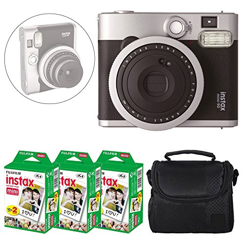 Fujifilm INSTAX Mini 90 Neo Classic Instant Camera (Black) + Fujifilm Instax Mini Instant Film (60 Exposures) + Camera Case - Deluxe Accessory Bundle (Classic Polaroid Camera Film)