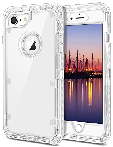"""iPhone 6 Case, iPhone 6S Case, JAKPAK Clear iPhone 6 Case Heavy Duty Full Body Protective Cover Hybrid Dual Layer Shockproof Case with Hard PC Bumper + Soft TPU Back for 4.7"""" iPhone 6/6S–Transpare"""