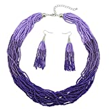 Bocar Multi Layer Beaded Statement Necklace Set Mix Strand Necklace and earrings for Women Gift (NK-10459-purple)