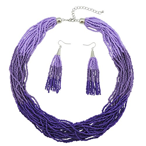 Bocar Multi Layer Beaded Statement Necklace Set Mix Strand Necklace and earrings for Women Gift (NK-10459-purple) (Beaded Purple Jewelry Set)