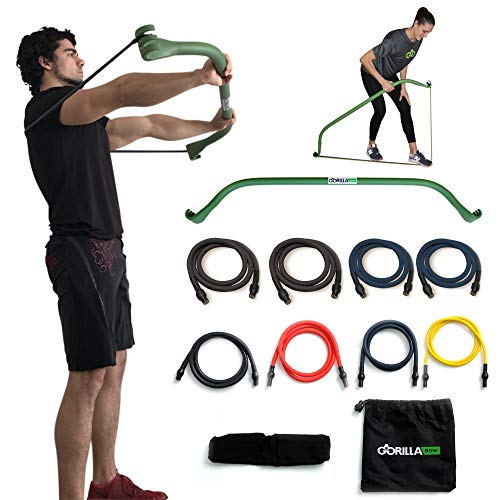 Gorilla Bow Portable Home Gym Resistance Band System | Weightlifting & HIIT Interval Training Kit | Full Body Workout Equipment (Heavy Green)
