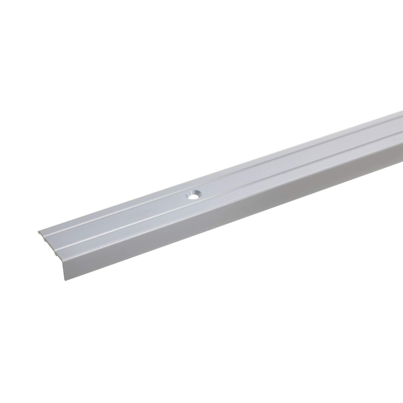 Treppenstufen-Profil aus Alu 10x24,5mm Treppenkanten-Profil acerto 34017 Aluminium Treppenwinkel-Profil silber * Rutschhemmend * Robust * Leichte Montage Gelochtes Stufenkanten-Profil 120cm
