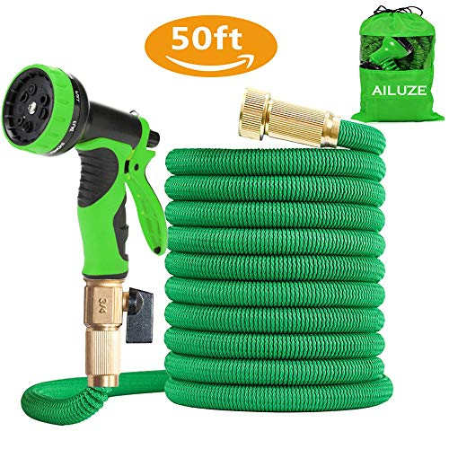 AILUZE 50ft Garden Hose - All New Expandable Garden Water Hose Pipe with Double Latex Core,3/4