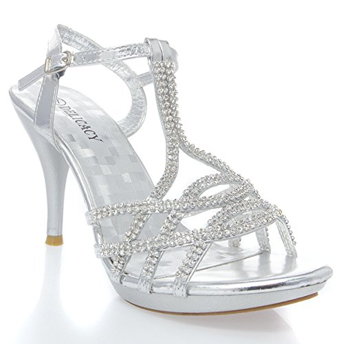 V-Luxury Womens 32-ESSENTIAL74 Open Toe Rhinestone Strappy Stiletto High Heel Sandal Shoe, Silver PU Leather, 6 B (M) US