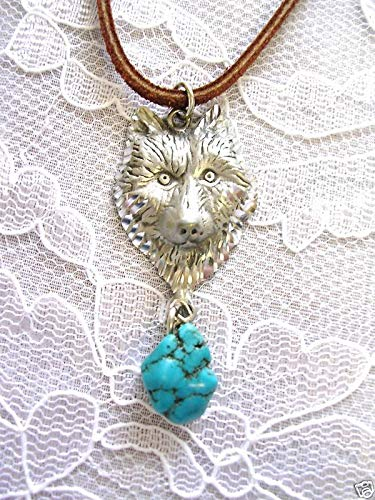 New Engraved Wildlife Wolf Head w Blue Turquoise Nugget Pendant Necklace Wolves