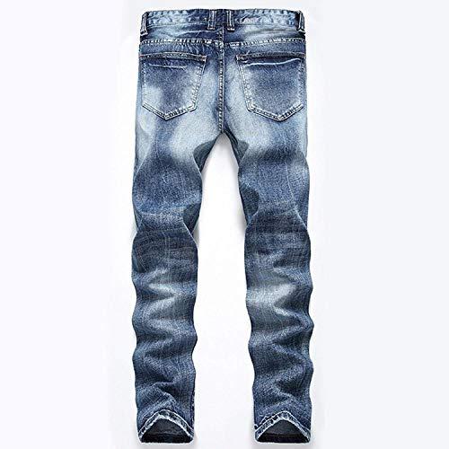Destruidos Los La Los Pantalones De Pantalones Lavados Ajustados RT Chicos Recta De Vaqueros Colour Jeans Vaqueros De Pantalones Vaqueros Rasgados Pierna Hombres Elástica Clásico x46w0n6Uq