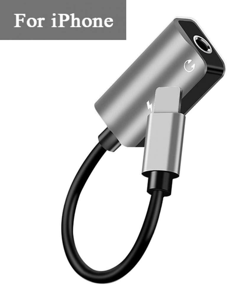 TOUSHI Ladekabel 3,5 mm Audio-Anschluss Splitter Ladeger/ät Handy Kopfh/örer tragbar 2 in 1 Adapter f/ür iPhone 7 8 X Typ USB C Jack AUX-Kabel