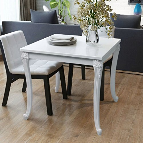 - Festnight Square Dining Table High Gloss White Kicthen Room Pedestal Leisure Coffee Tea Breakfast Table for Home Kitchen Furniture 31.5