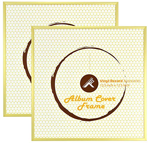 Golden State Art, Set of 2, 12.5x12.5 Gold Aluminum Vinyl Record Album Cover Frame (Record Gold)