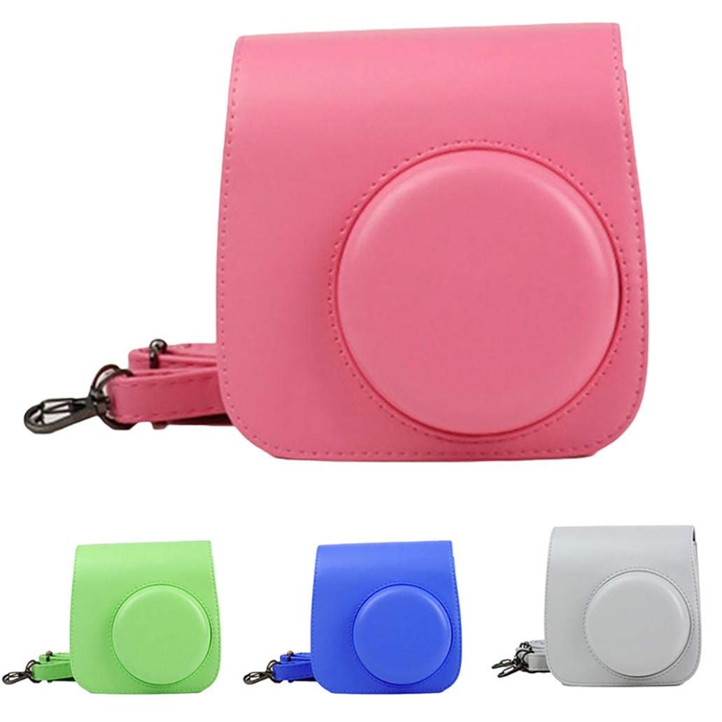 Portable Solid Color Faux Leather Camera Case Shoulder Bag For Polaroid Mini 9-3#