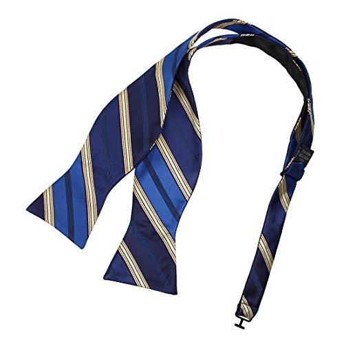 Tan Stripe Bow - DBA7A27C Navy Tan Stripes Bow Tie Microfiber Presents Idea For Wedding Hand-model Bow Tie By Dan Smith