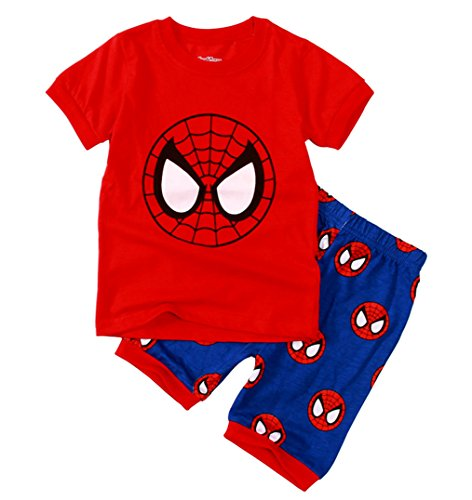 Sidney Boys Summer Spiderman Pattern Pajamas Sets