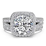 Pophylis Sterling Silver Micro Pave Hand Set 2.4 CTW Cubic Zirconia Cushion Shape Halo Wedding Rings for Bride Size 5/6/7/8/9/10/11
