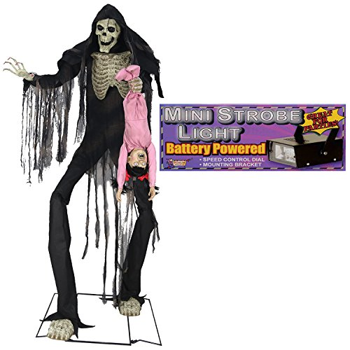 Oversized Boogeyman Dangling Kid Animated Halloween Prop with Strobe Light -