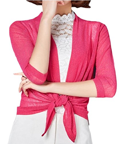 Knitting Pattern Cropped Cardigan - Yayu Womens Sheer Shrug Front Tie 3/4 Sleeve Cardigan Lightweight Cropped Tops Rose Red S