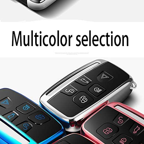 Longzheyu Compatible with Range Rover Key Fob Cover Case Premium Soft TPU Key Fob Case for Defender Discovery Sport LR4 Range Rover Sport and Jaguar XF XJ XJL XE F-PACE Jaguar 5-Buttons Silver