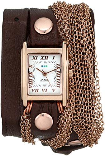 Collection Brown Leather Watch (La Mer Collections Women's LMDUO1002 Ros Gold-Tone Watch with Wraparound Brown Leather Band)