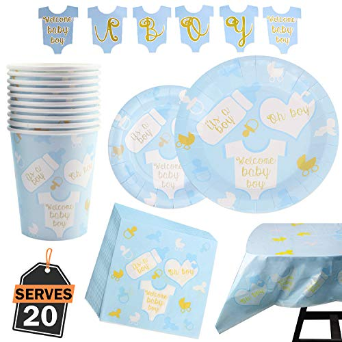 82 Piece Baby Boy Shower Party Supplies Set Including Plates, Cups, Table Napkins, Tablecloth and Banner, Serves 20 -
