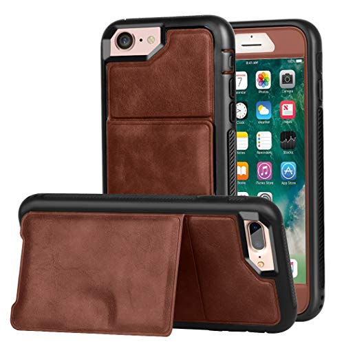 Wallet Case iPhone 7 / iPhone 8 Kickstand, ZAOX Military Grade Drop Protection Flip Premium Leather Protective Credit Card Slot Holder Magnetic Closure Shockproof Cover 4.7 inch Vintage ()