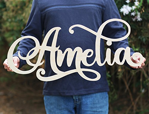 Custom Girls Name Nursery Wooden Sign, Amelia Font Personalized Nursery Decor, New Baby Gift, First Name Wood Cutout, Personalized Kids Room Sign Decor (Wood Decor Children Wall)