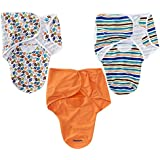 Summer Infant 3 Pack SwaddleMe Adjustable Infant Wrap, Small, Touch Down