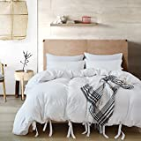 quilt covers - Hihotel 3 Pcs Duvet Cover Set, Washed Cotton Soft Solid Color Cover Quilt Case Hypoallergenic, Zipper Close, Machine Washable, Inside Corner Ties (1 Duvet Cover, 2 Pillow Cases)