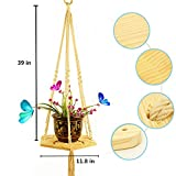 Macrame Plant Hanger Home Decor Cotton Cord and Pine Hexagon Shelf Hanging Planter For Indoor And Outdoor Plant 39 Inches