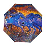 ALAZA Running Horse Oil Painting Travel Umbrella Auto Open Close UV Protection Windproof