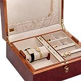 Bello Collezioni - Via Manzoni Men's/Women's Briar Wood Luxury Jewelry Box. Made in Italy