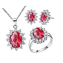 Zirconia Crystals Necklace Earrings and Ring Set