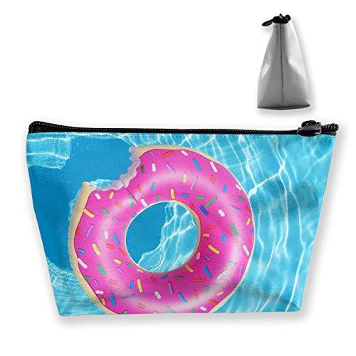 Trapezoid Toiletry Pouch Portable Travel Bag Doughnut Swim Clutch Bag by Laur
