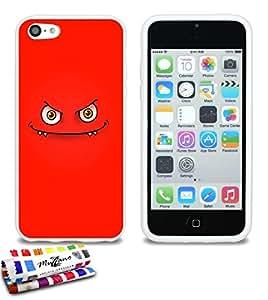 Carcasa Flexible Ultra-Slim APPLE IPHONE 5C de exclusivo motivo [Monstruo rojo] [Blanca] de MUZZANO  + ESTILETE y PAÑO MUZZANO REGALADOS - La Protección Antigolpes ULTIMA, ELEGANTE Y DURADERA para su APPLE IPHONE 5C