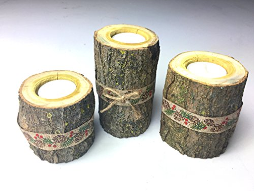 Tiered Real Log Wood Tea Light Candle Holders With Pine Cone & Berry Band Set of (Berry Candle Holder)