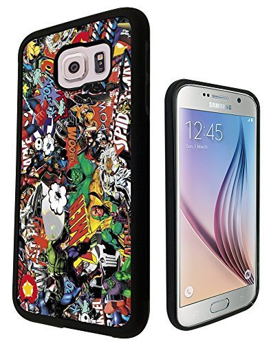 Marvel Superhero Sticker Bomb Stickerbomb spider man superman The Hulk captain america iron man Design Samsung Galaxy S6 i9700 COOL FUN CASE Silicone Gel Rubber Cover