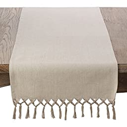 SARO LIFESTYLE 1835.N1672B Knotted Tassel Fringe Cotton Table Runner,Natural,16\