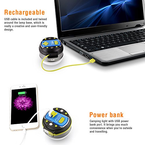 le led cing lantern usb rechargeable 280lm led tent light 3 lighting mode 3000mah power