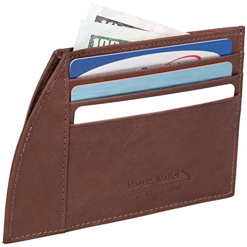 Front Pocket Slim Wallet by Rogue Industries - The Weekender XL Brown - Holds up to 6 cards with a slot for folded bills