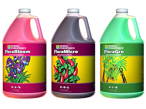 General Hydroponics Flora Grow, Bloom, Micro Combo Fertilizer, 1 gallon each, Pack of 3
