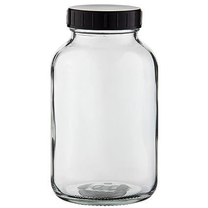 1 x 5 frascos Botella 1000 ml, cristal transparente Incluye de rosca con junta (