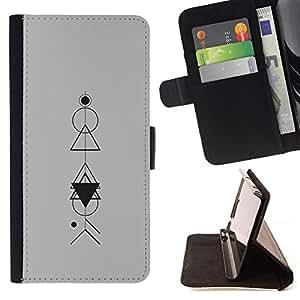 - polygon mathematical pattern grey - - Prima caja de la PU billetera de cuero con ranuras para tarjetas, efectivo desmontable correa para l Funny HouseFOR Samsung Galaxy S3 Mini I8190Samsung Galaxy S3 Mini I8190
