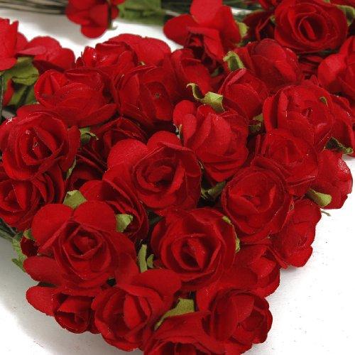 144x Mini Rose Bulk Paper Flowers Wedding Decor Craft Scrapbook Red