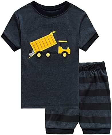 Family Feeling Little Boys Train 2 Piece Pajamas Shorts 100% Cotton 6M-8Years