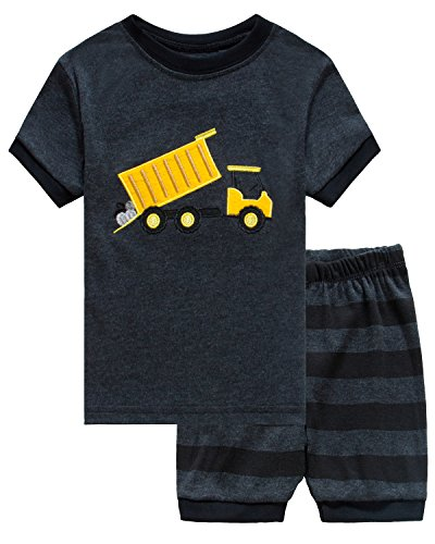 Boys Cotton Pjs (Family Feeling Dump Truck Little Boys Shorts Set Pajamas 100% Cotton Clothes Toddler Kid T Shirt Pants)
