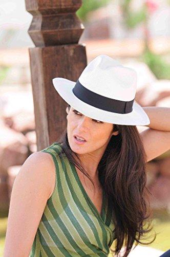 Gamboa Genuine Unisex Sun Hat Summer Beach Straw UPF 50 Fedora Panama Hat White