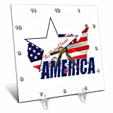 3dRose Alexis Design - America - Map and Flag of the USA, text The United States of America on white - 6x6 Desk Clock (dc_270549_1)