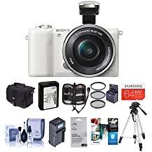 Sony Alpha A5100 Mirrorless Digital Camera, White with 16-50mm E-Mount Lens - Bundle with Camera Case, 64GB SDXC Card, Spare Battery, Tripod, 40.5mm Filter Kit, Software Package and More