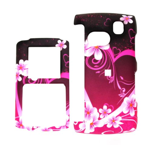 Red Pink Flower Heart Snap on Hard Skin Faceplate Phone Shield Cover Case for SAMSUNG COMEBACK T559 ()