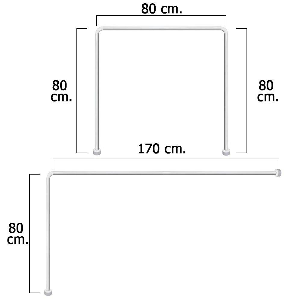 Maurer 4042202Bastone Universale per Tenda Docia in Alluminio, 80 x 170 cm, Bianco